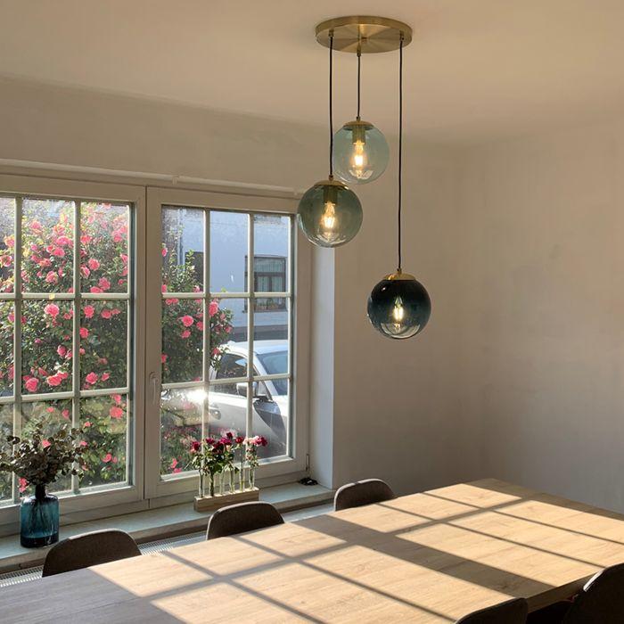 Lámpara-colgante-Art-Deco-latón-vidrio-azul-3-luces--PALLON