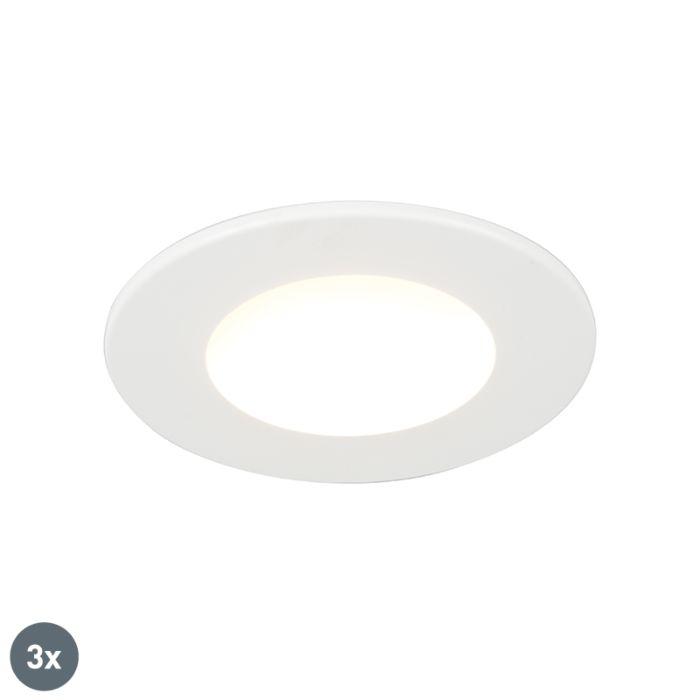 Set-de-3-focos-empotrados-redondos-LED-5W-blancos-IP65---BLANCA