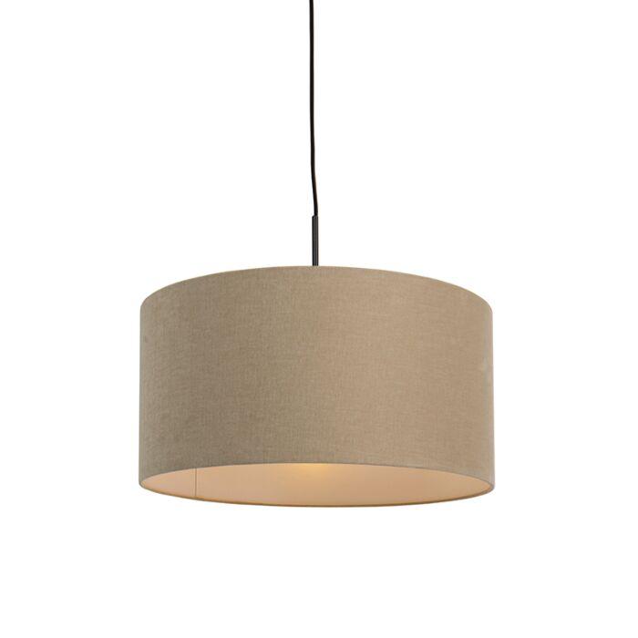 Lámpara-colgante-rústica-negra-pantalla-beige-50cm---COMBI-1