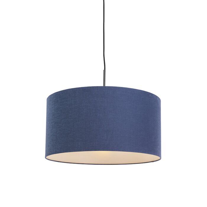 Lámpara-colgante-negra-pantalla-azul-envejecido-50cm---COMBI-1