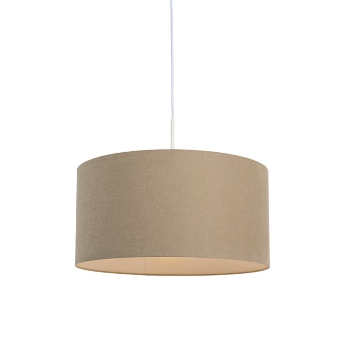 Lámpara-colgante-rústica-blanca-pantalla-beige-50cm---COMBI-1