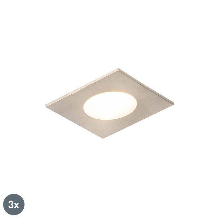 Set-de-3-focos-empotrados-acero-cuadrado-LED-IP65---SIMPLY
