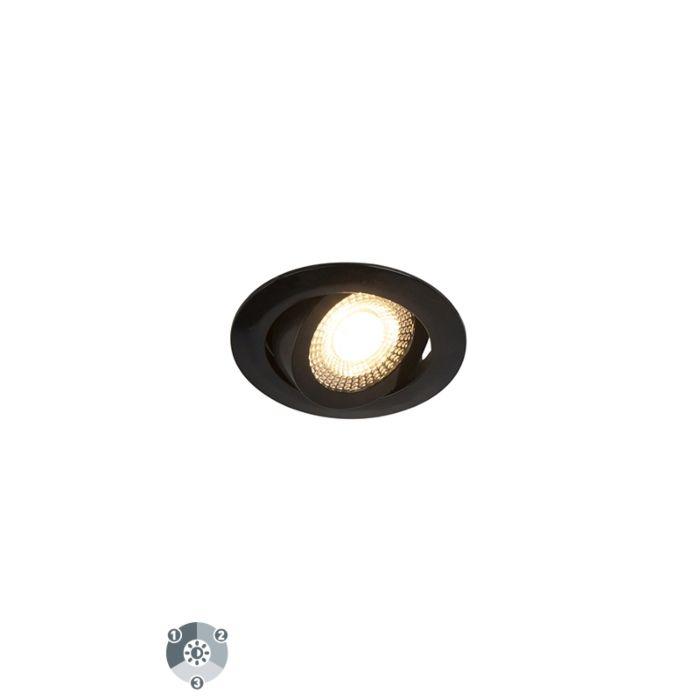 Set-de-5-focos-empotrables-modernos-negros-LED-3-niveles-regulables---MIO-