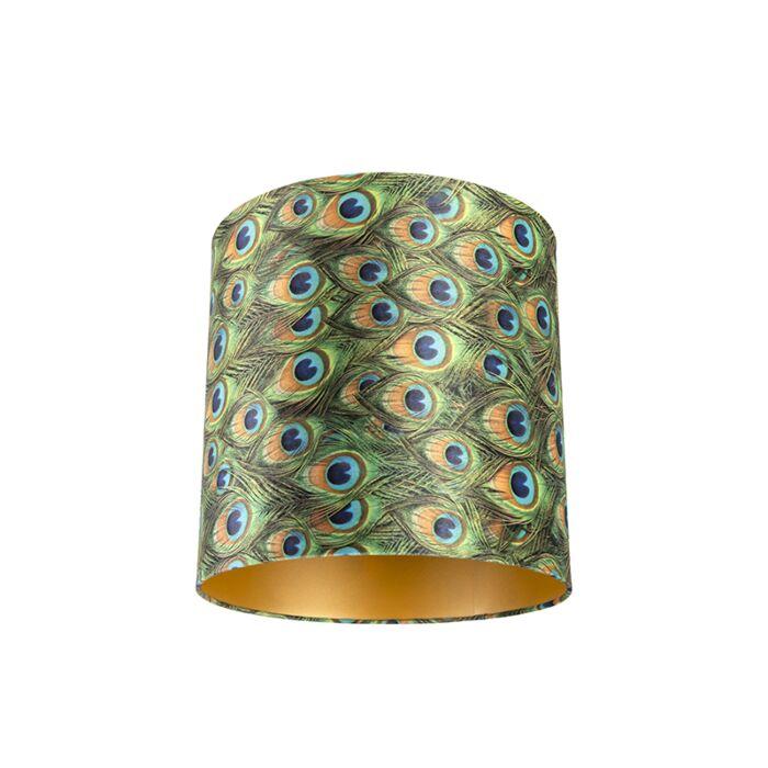Pantalla-terciopelo-diseño-pavo-real-40/40/40-interior-dorado