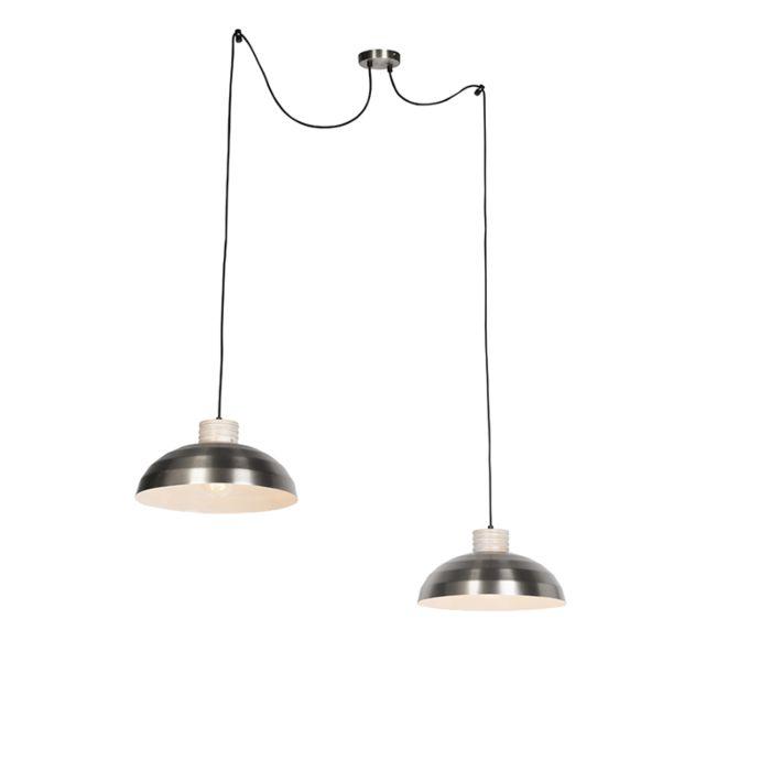 Lámpara-colgante-rústica-acero-con-madera-2-luces---ALBUS