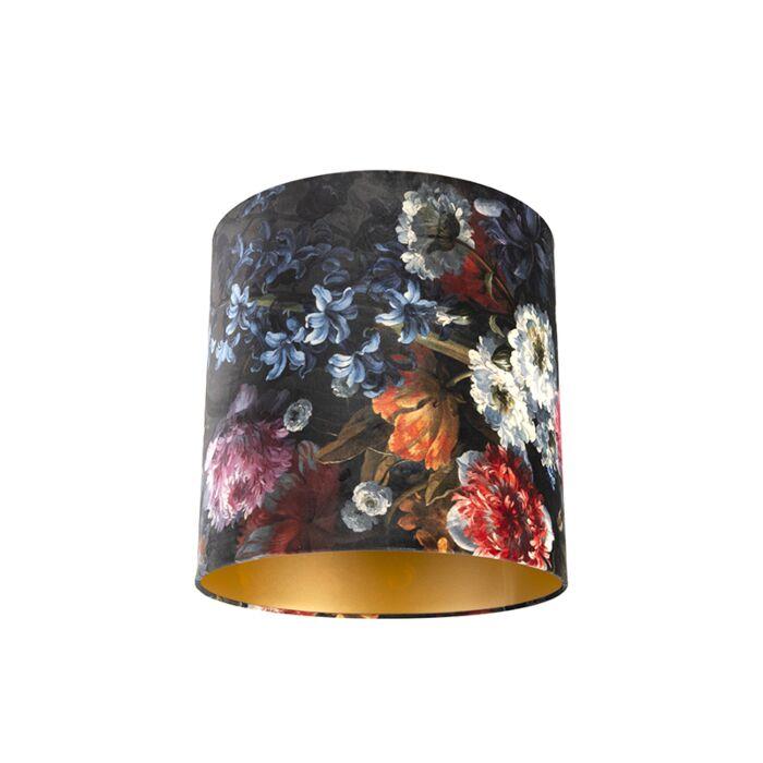 Pantalla-terciopelo-diseño-floral/oro-40/40/40