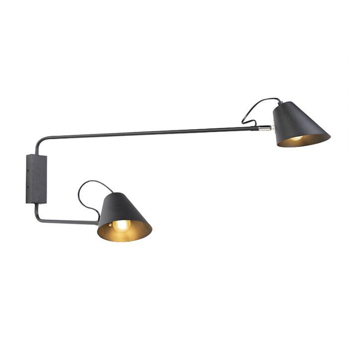 Aplique-diseño-negro-2-luces-ajustable---LUNE