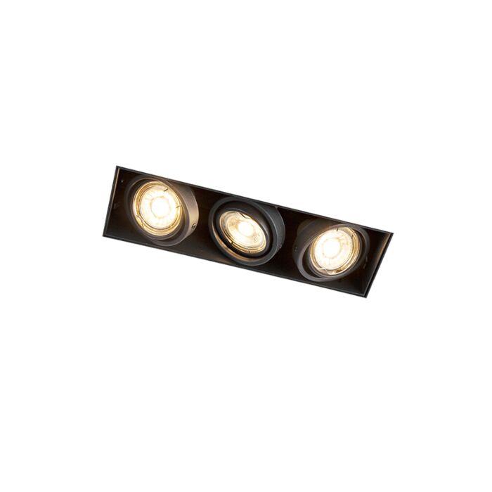 Foco-empotrado-negro-orientable-sin-molduras-3-luces---ONEON-3-Trimless