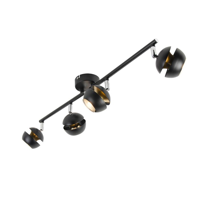 Plafón-moderno-negro/oro-4-luces--BUELL-DELUXE