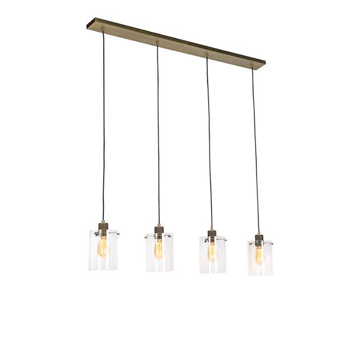 Lámpara-colgante-nórdica-bronce-cristal-4-luces---DOME