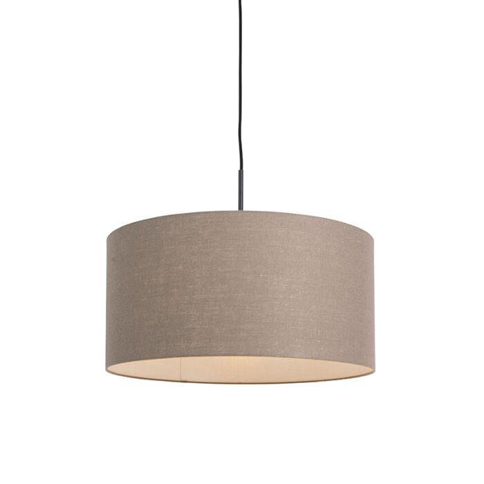 Lámpara-colgante-rústica-negra-pantalla-marrón-50cm---COMBI-1
