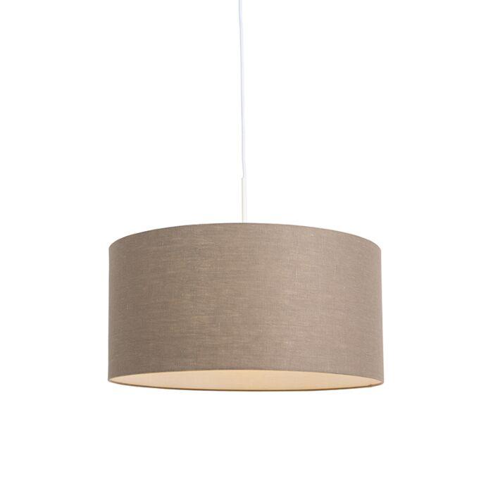 Lámpara-colgante-rústica-blanca-pantalla-marrón-50cm---COMBI-1