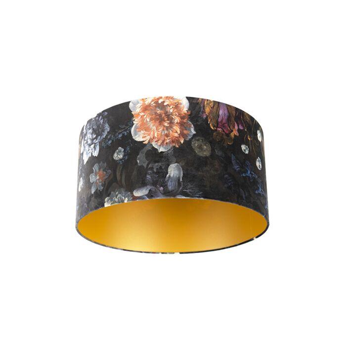 Pantalla-terciopelo-diseño-floral/oro-50/50/25-