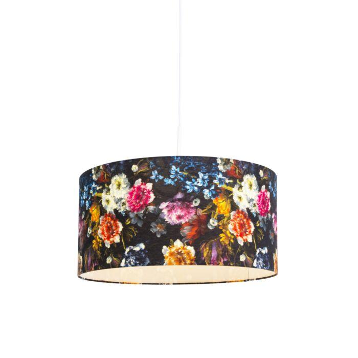 Lámpara-colgante-romántica-blanca-pantalla-flores-50cm---COMBI-1