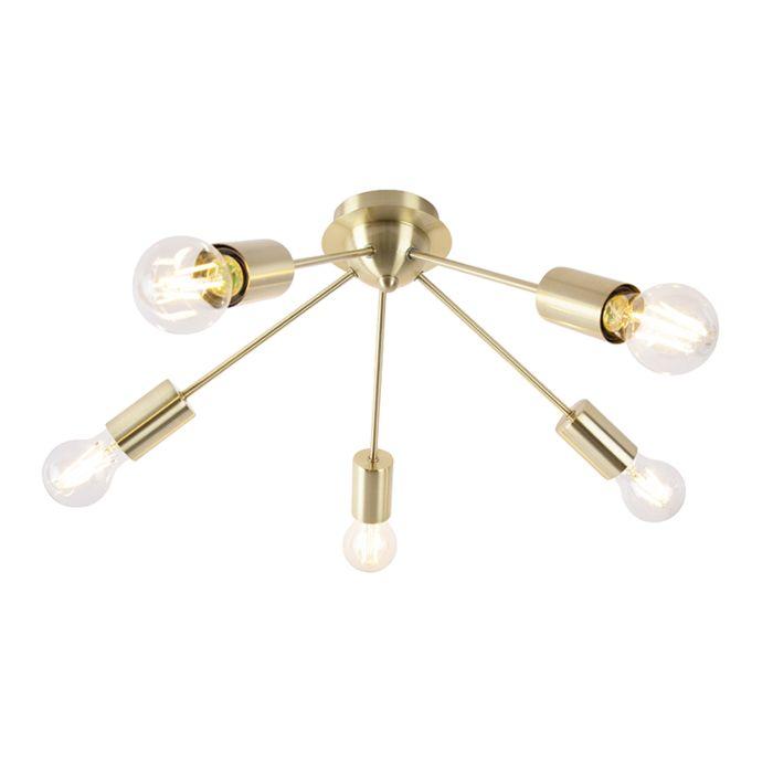 Plafón-Art-Deco-oro-5-luces--FACIL