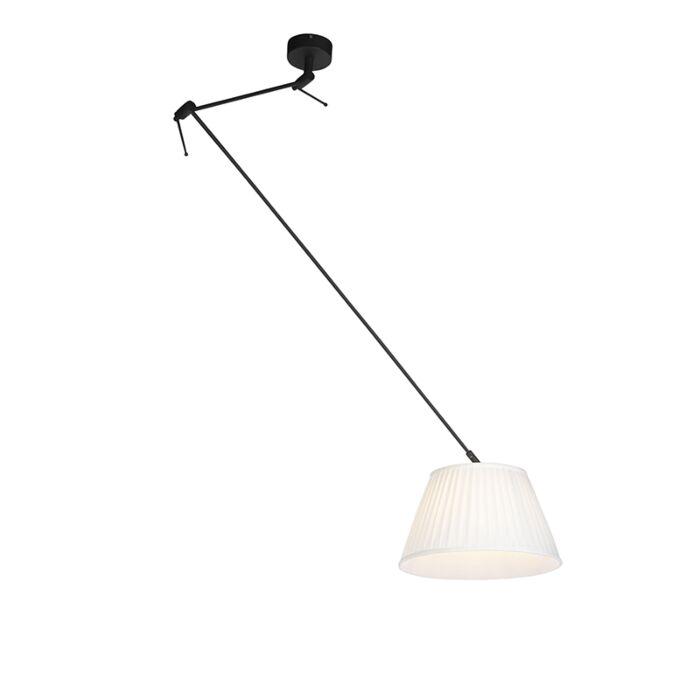Lampada-a-sospensione-crema-paralume-plissettato-35cm---BLITZ-I-zwart