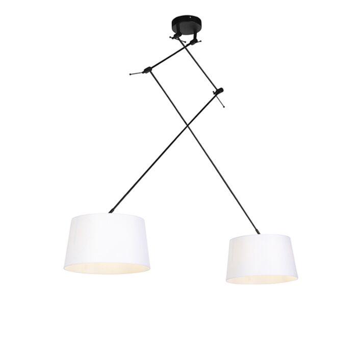 Lámpara-colgante-pantallas-lino-blanco-35cm---BLITZ-II-zwart