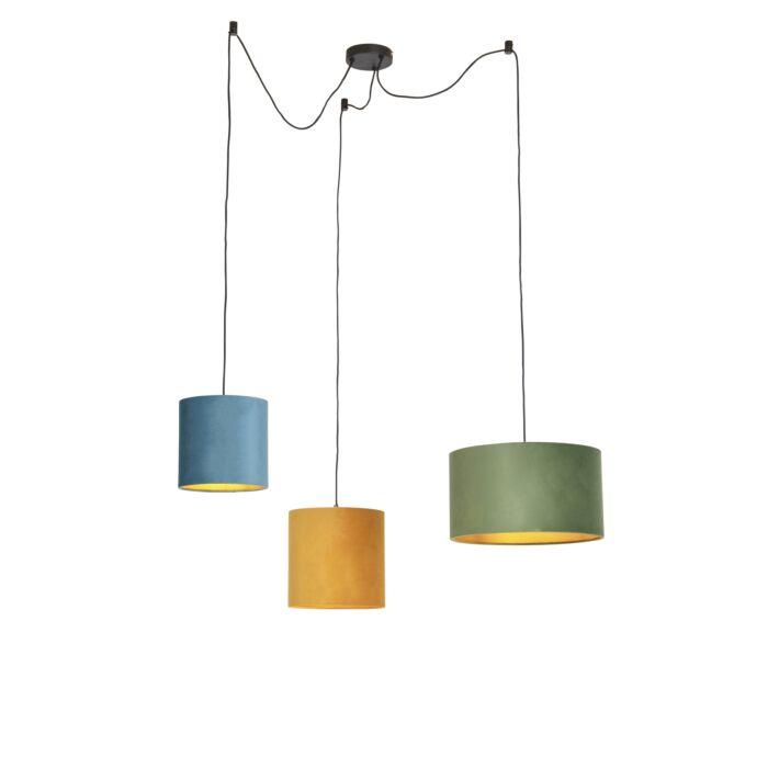 Lámpara-colgante-con-tonos-de-terciopelo-verde,-amarillo-y-azul---Cava