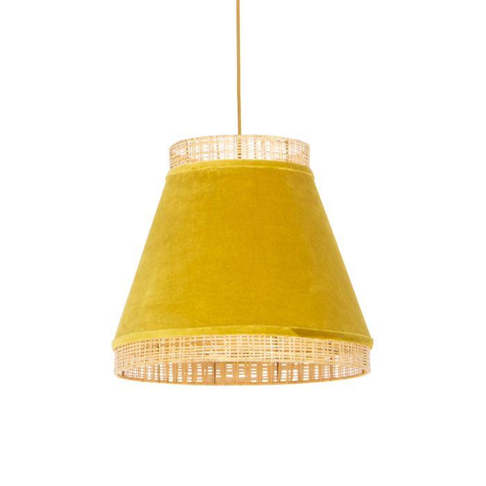 Lámpara-colgante-rústica-terciopelo-amarillo-mimbre-45x43cm---FRILLS-CAN