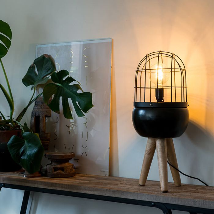 Trípode-de-mesa-moderna-negra-madera---BIRDS