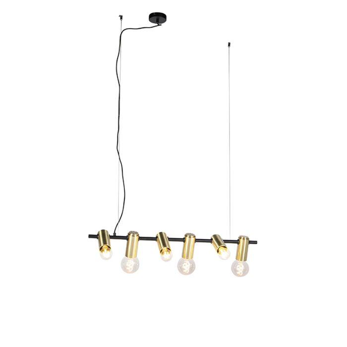 Lámpara-colgante-moderna-negra-latón-6-luces---FACIL
