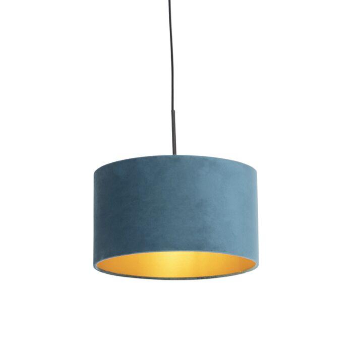 Lámpara-colgante-pantalla-terciopelo-azul-oro-35cm---COMBI