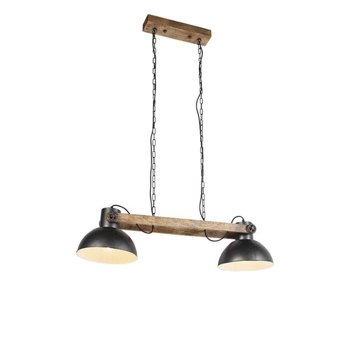 Lámpara-colgante-industrial-negra-madera-2-luces---MANGOES