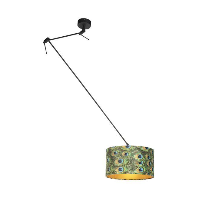 Lámpara-colgante-pantalla-terciopelo-pavo-real/oro-35cm---BLITZ-I-zwart