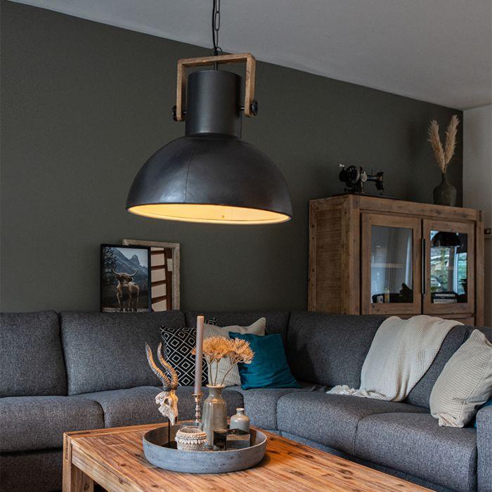 Lámpara-colgante-industrial-negra-madera---MANGOES