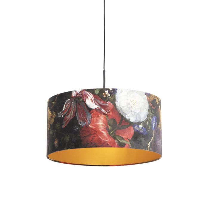 Lámpara-colgante-pantalla-terciopelo-flores-oro-50cm--COMBI