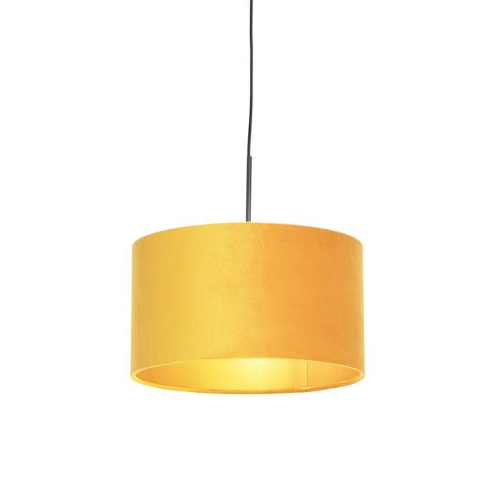 Lámpara-colgante-pantalla-terciopelo-ocre-oro-35cm---COMBI