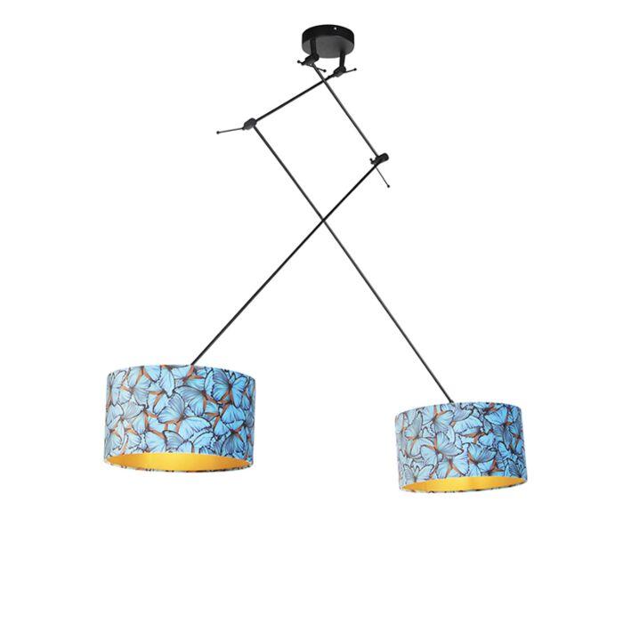 Lámpara-colgante-pantallas-terciopelo-mariposa/oro-35cm---BLITZ-II-Zwart