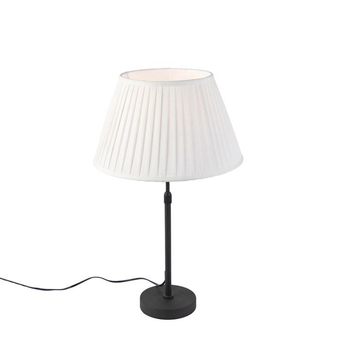 Lámpara-de-mesa-negra-con-sombra-plisada-crema-35-cm-ajustable---Parte