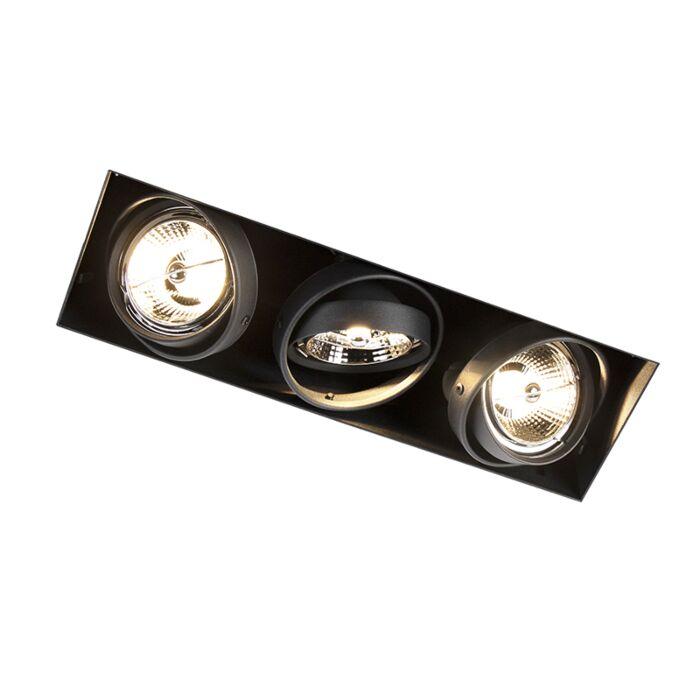 Foco-empotrado-negro-orientable-sin-marco-3-luces---ONEON-3-Trimless-AR70
