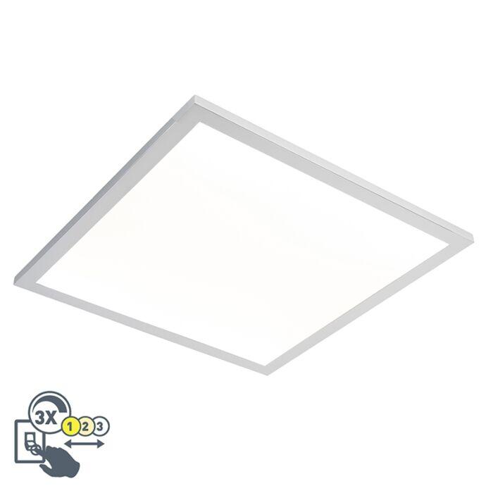 Plafón-cuadrado-cromo-45cm-LED-IP44---FLAT