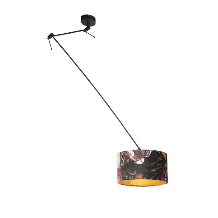 Lámpara-colgante-pantalla-terciopelo-flores/oro-35cm---BLITZ-I-zwart