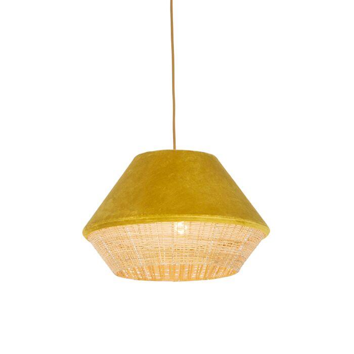 Lámpara-colgante-rústica-terciopelo-amarillo-mimbre-45x28cm---FRILLS-CAN