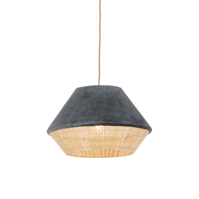 Lámpara-colgante-rústica-terciopelo-gris-mimbre-45x28cm---FRILLS-CAN