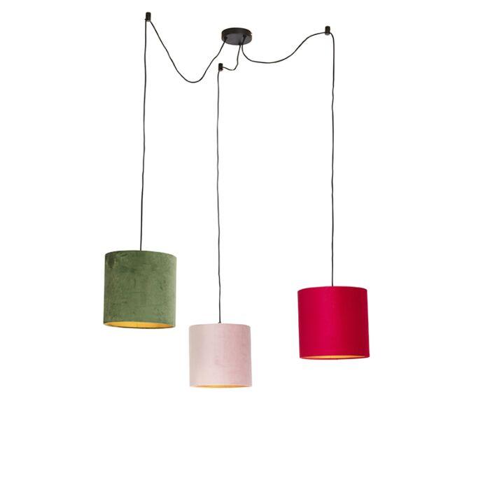Lámpara-colgante-con-tonos-de-terciopelo-rojo,-verde-y-rosa---Cava