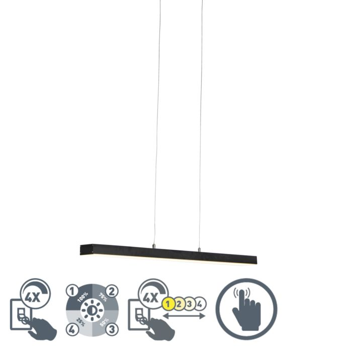 Lámpara-colgante-negra-regulable-4-estados-táctil-LED---OGANDA