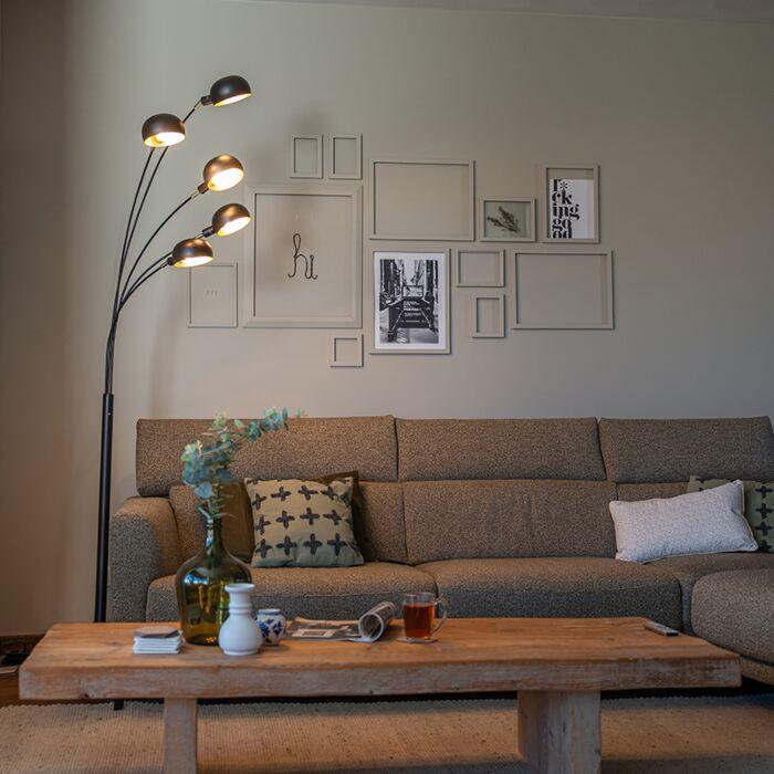 Lámpara-de-pie-diseño-negro-5-luces---SIXTIES-