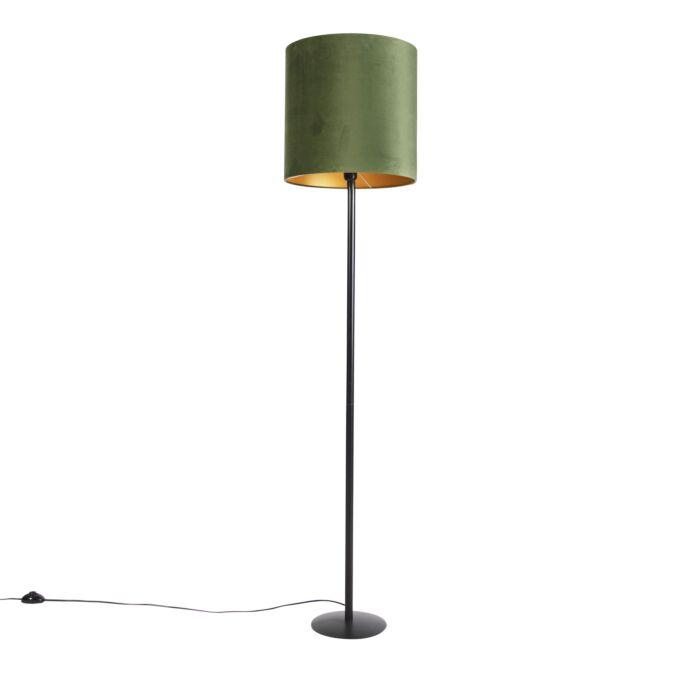 Lámpara-de-pie-botánica-negra-pantalla-verde/oro-40cm---SIMPLO