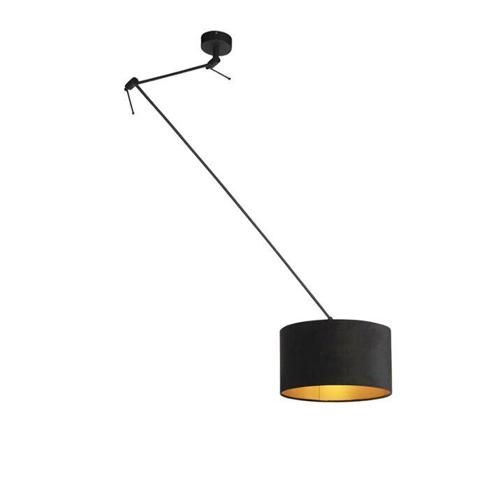 Lámpara-colgante-pantalla-terciopelo-negro/oro-35cm---BLITZ-I-zwart