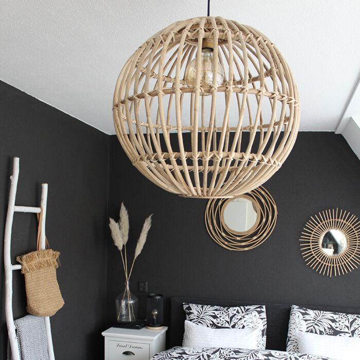 Lámpara-colgante-rústica-bambú-natural---CANE-BALL-60