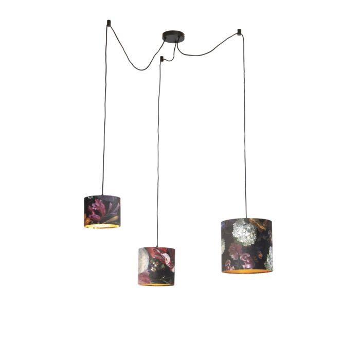 Lámpara-colgante-con-3-tonos-de-flores-de-terciopelo-con-oro---Cava