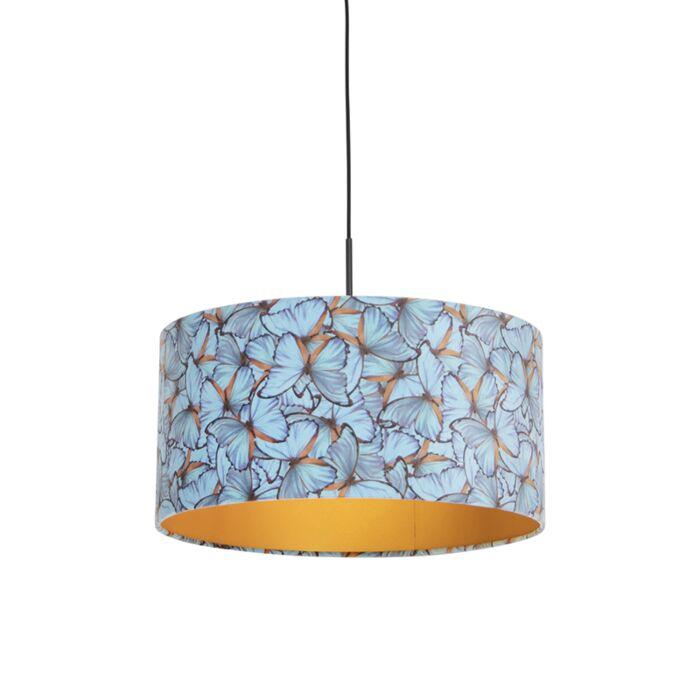 Lámpara-colgante-pantalla-terciopelo-mariposas-oro-50cm--COMBI