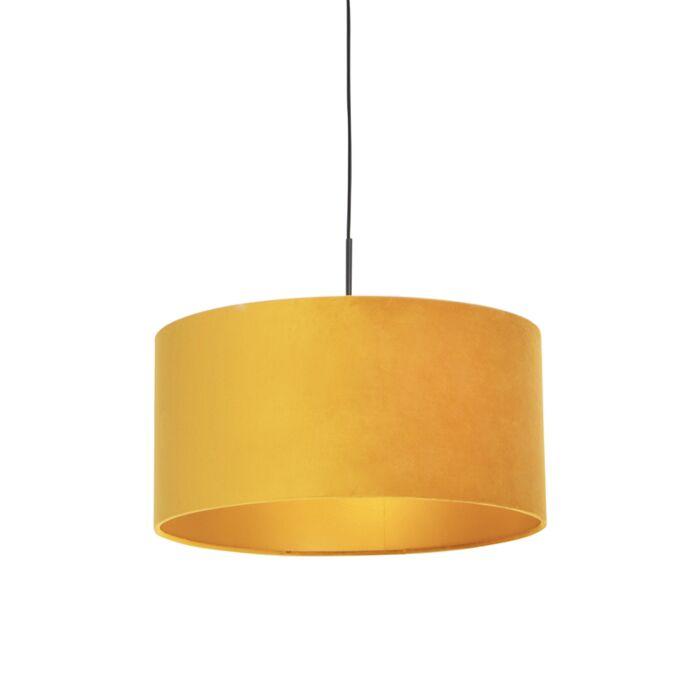 Lámpara-colgante-pantalla-terciopelo-ocre-oro-50cm--COMBI