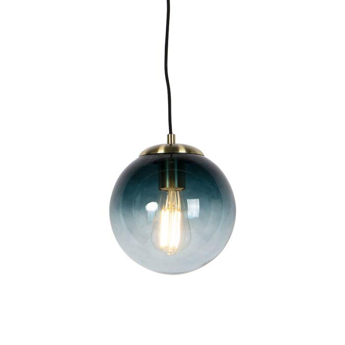 Lámpara-colgante-Art-Deco-latón-cristal-azul-océano-20cm---PALLON