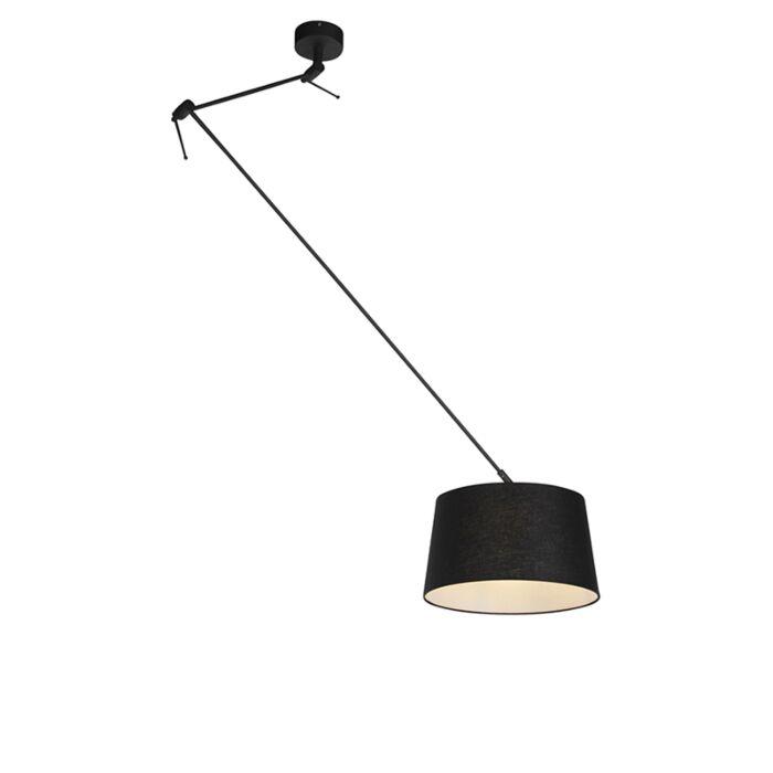 Lámpara-colgante-pantalla-lino-negro-35cm---BLITZ-I-zwart