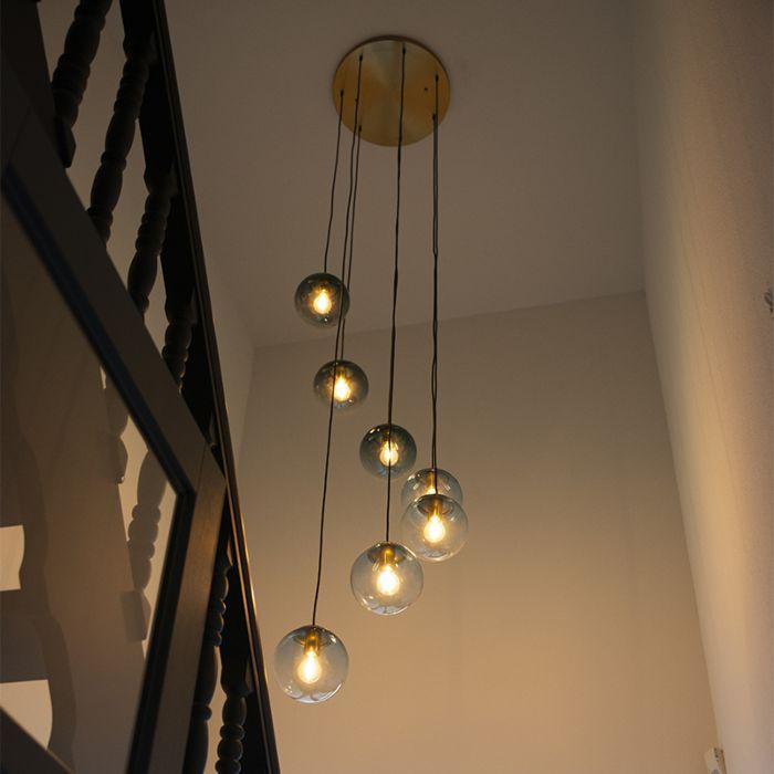 Lámpara-colgante-latón-azul-verde-7-luces---PALLON